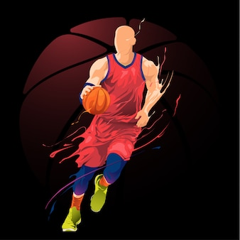 Joueur de basket-ball dribble action