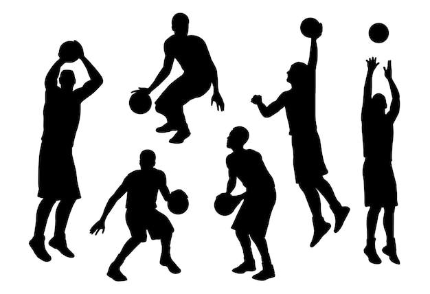 Joueur De Basket-ball Silhouette En Action Vecteur Premium