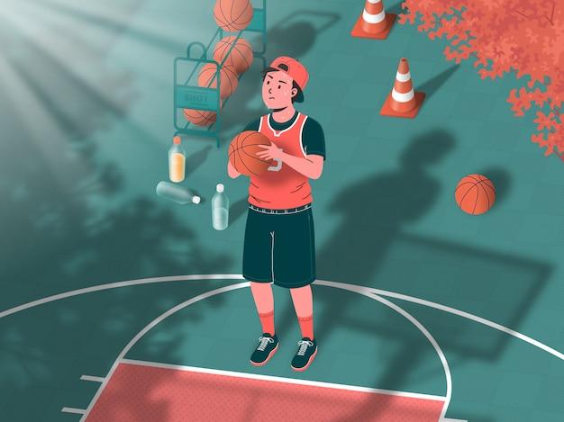 Joueur de basket-ball tirant des exercices à midi pour participer aux événements d'été