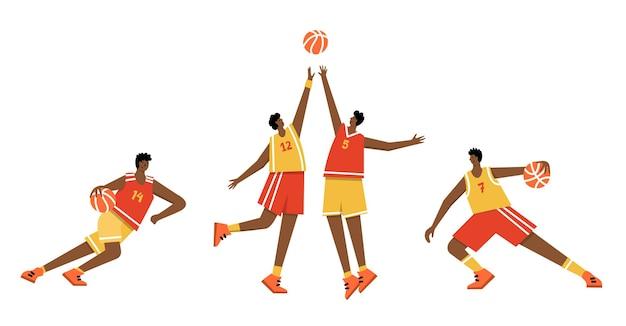 Joueur de basket avec ballon. affiche du championnat de basket-ball masculin, bannière de sport