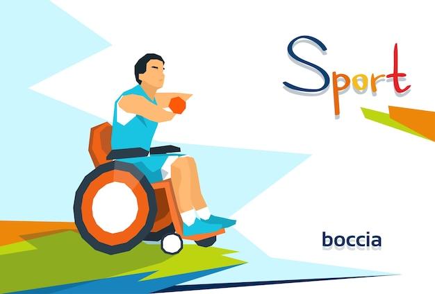 Joueur de bowling handicapé en compétition sportive en fauteuil roulant