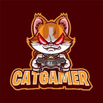 Joueur de chat en colère avec mascotte de contrôleur