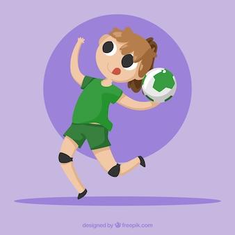 Joueur de handball dans un style dessiné à la main