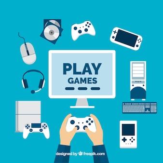 Joueur avec des éléments de jeux vidéo en design plat