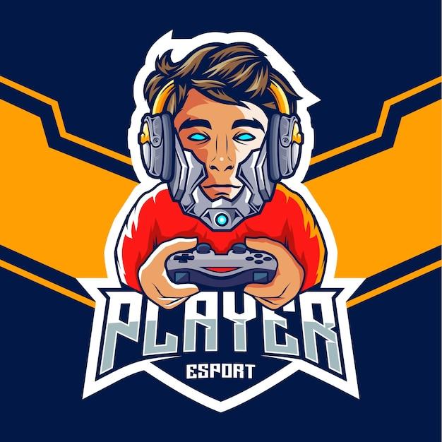 Joueur d'esports professionnel avec un logo de tête de robot
