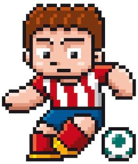 Joueur de foot de bande dessinée - pixel design