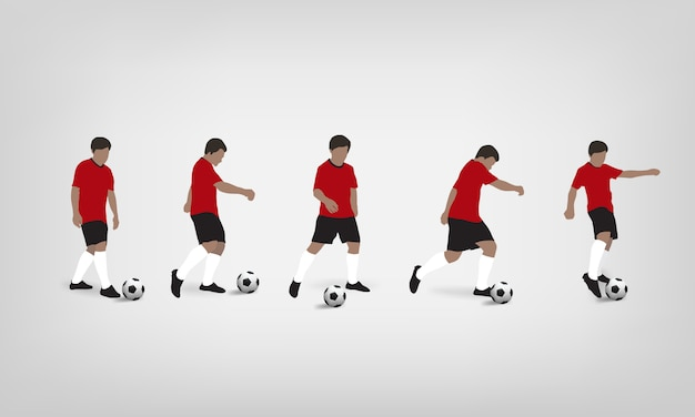 Joueur de foot jouant et frappant le ballon de foot sur fond blanc.