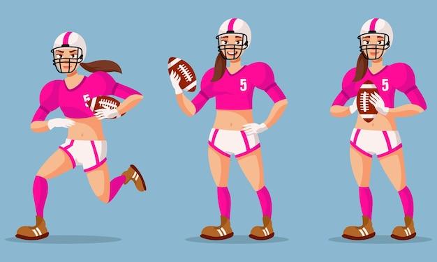 Joueur de football américain dans différentes poses. personne de sexe féminin en illustration de style dessin animé