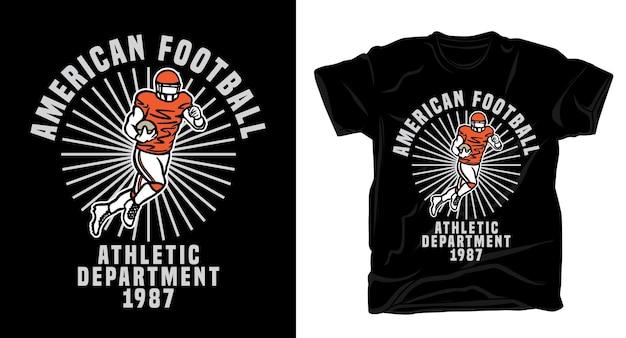 Joueur de football américain avec design de t-shirt typographie
