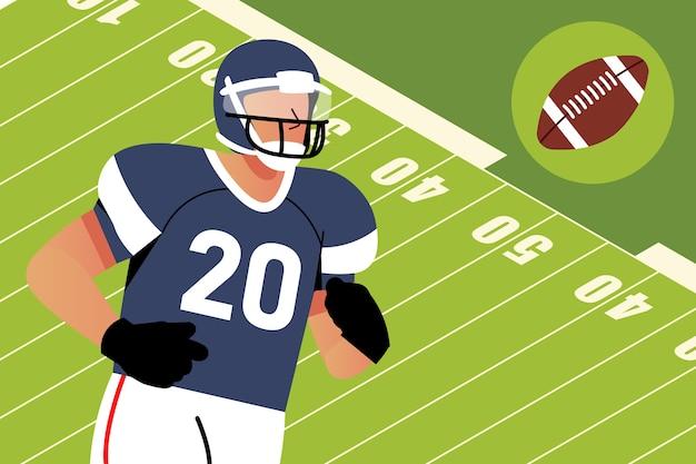 Joueur de football américain devant le terrain