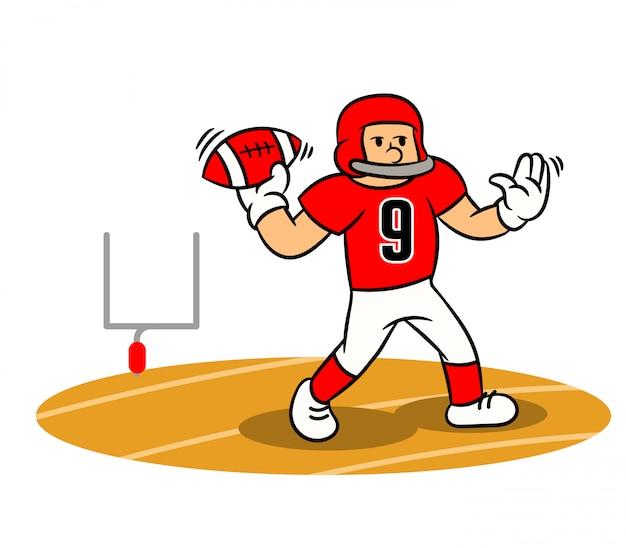 Joueur de football américain lancer la balle sur le terrain