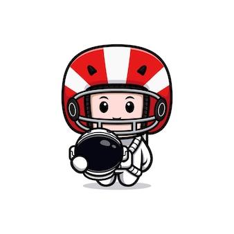 Joueur de football américain mignon prêt à l'illustration de la mascotte de la lune