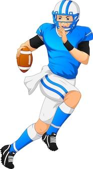 Joueur de football américain posant et tenant un ballon