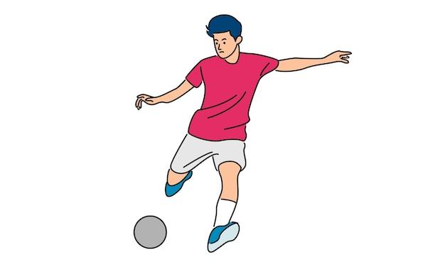 Joueur de football botter le ballon isolé sur blanc