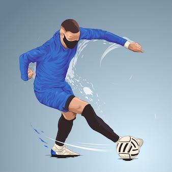 Joueur de football botter le ballon