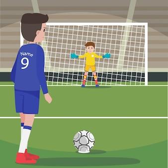 Joueur de football de caractère en position de tir de pénalité avec le gardien de but