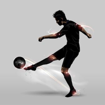 Joueur de football demi-volée