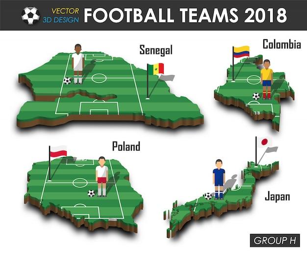 Joueur de football et drapeau sur la carte de pays de conception 3d.