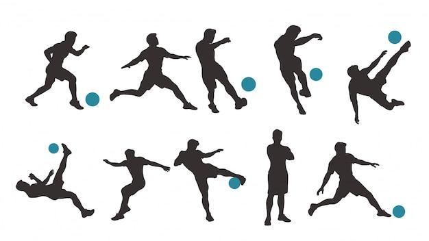 Joueur football, ensemble, silhouette