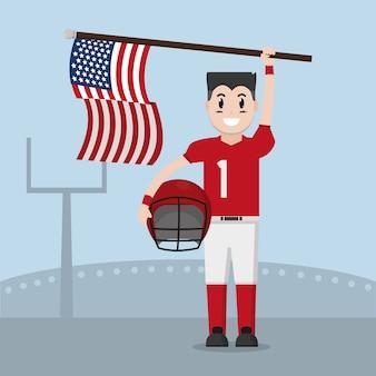Joueur de football avec les états-unis