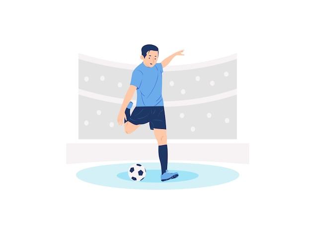 Joueur de football de football prêt illustration de concept de coups de pied