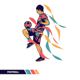 Joueur de football illustration vectorielle jouant au ballon jonglant avec des illustrations vectorielles de couleurs de mouvement