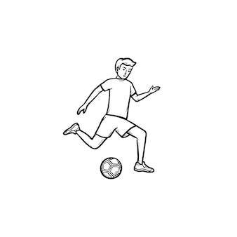 Joueur de football kicking ball icône de doodle contour dessiné à la main. sport d'équipe, entraînement de football, concept de jeu de football. illustration de croquis de vecteur pour l'impression, le web, le mobile et l'infographie sur fond blanc.