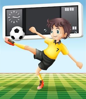 Joueur de football sur le terrain