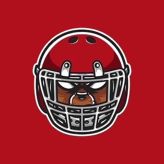 Joueur de football de tête de logo grizzly