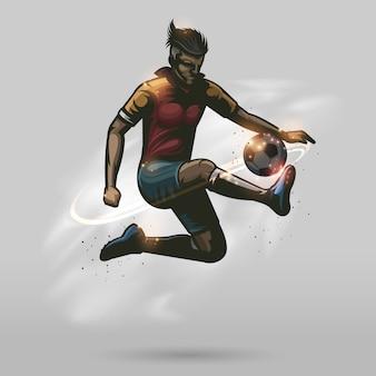 Joueur de football, toucher le ballon