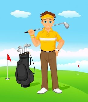 Joueur de golf dessin animé garçon