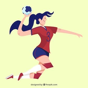 Joueur de handball athlétique avec un design plat