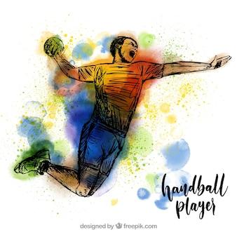 Joueur de handball dans le style de croquis