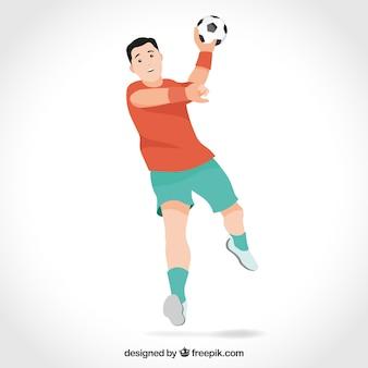 Joueur de handball avec un design plat