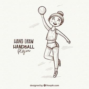 Joueur de handball féminin dessiné à la main