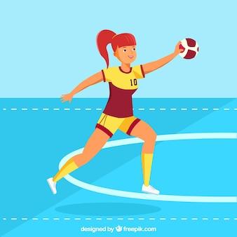Joueur de handball féminin professionnel avec un design plat
