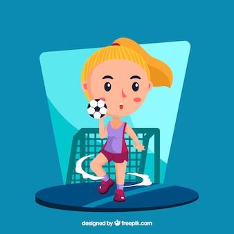 Joueur de handball heureux avec un design plat