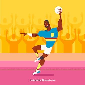 Joueur de handball professionnel avec un design plat