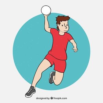 Joueur de handball professionnel dessiné à la main