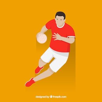 Joueur de handball professionnel qith design plat