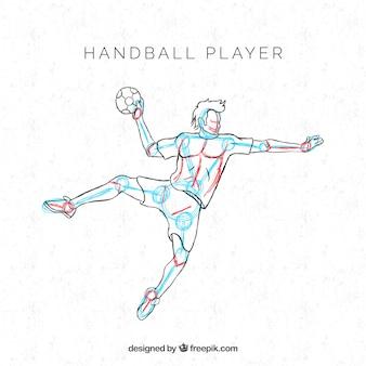 Joueur de handball professionnel avec style dessiné à la main