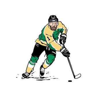 Joueur de hockey sur glace isolé sur blanc