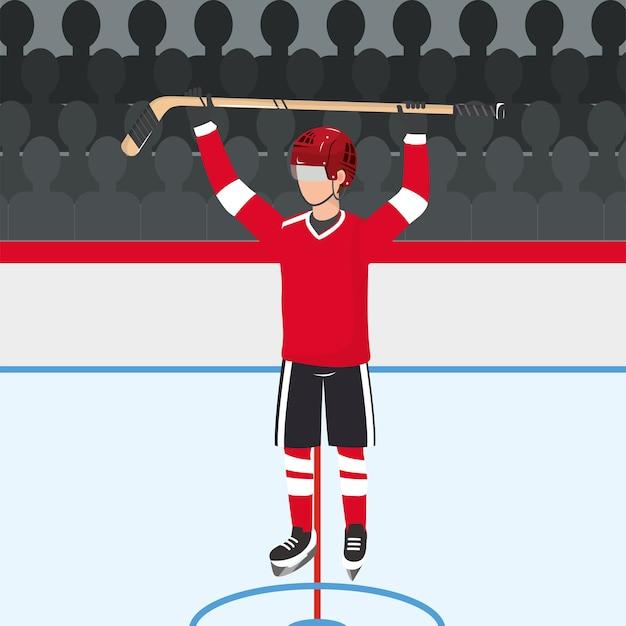 Joueur de hockey avec uniforme professionnel et bâton