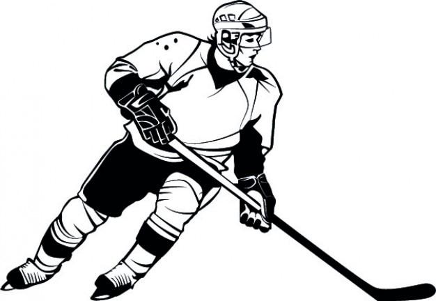 Joueur de hockey de vecteur détaillée de bande dessinée