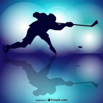 Joueur de hockey vecteur silhouette