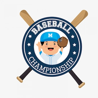 Joueur d'insigne de championnat de baseball avec des chauves-souris