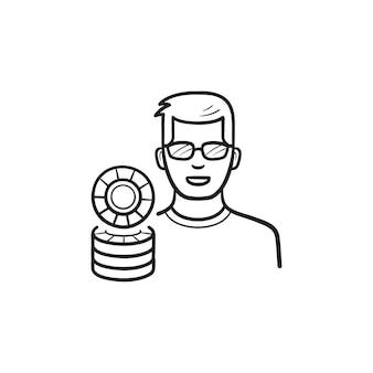 Joueur et jetons de casino icône de doodle contour dessiné à la main. joueur de casino, jeu de casino, concept de jeu
