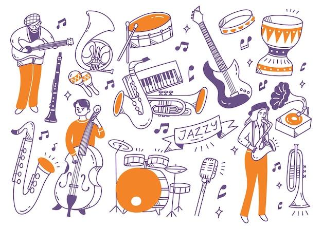 Joueur de musique jazz et les instruments doodle