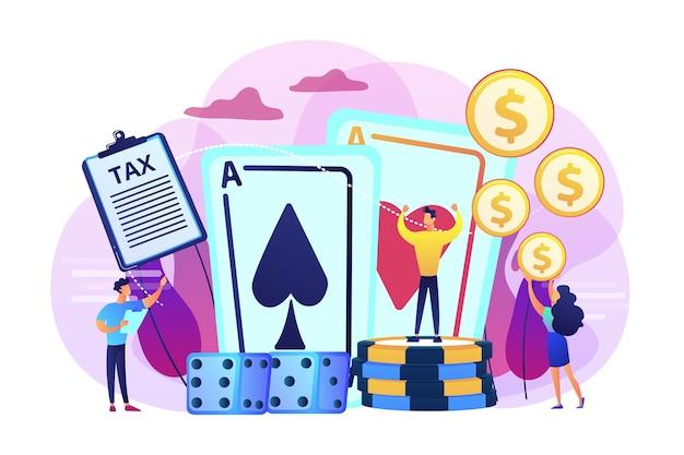 Joueur de poker, personnage plat gagnant de casino chanceux. revenu de jeu, imposition des revenus de jeu, concept d'opérations de paris juridiques.