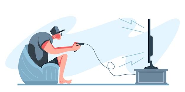 Joueur professionnel tenant le contrôleur de pad jouant au jeu vidéo à l'écran du téléviseur. joueur de sports électroniques, concept de joueurs professionnels. modèle de bannière d'en-tête ou de pied de page. illustration évolutive et modifiable.
